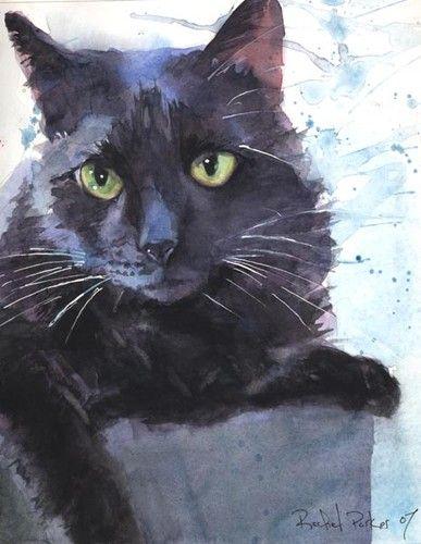 Black Cat Art Watercolor by Rachel Parker