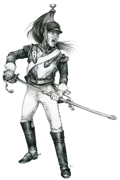 A French Cuirassier in pencil
