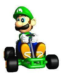 Luigi in his kart from the official artwork set for #MarioKart64 on the #N64. #MarioKart #Mario #Nintendo64. Visit for more info http://www.superluigibros.com/mario-kart-64