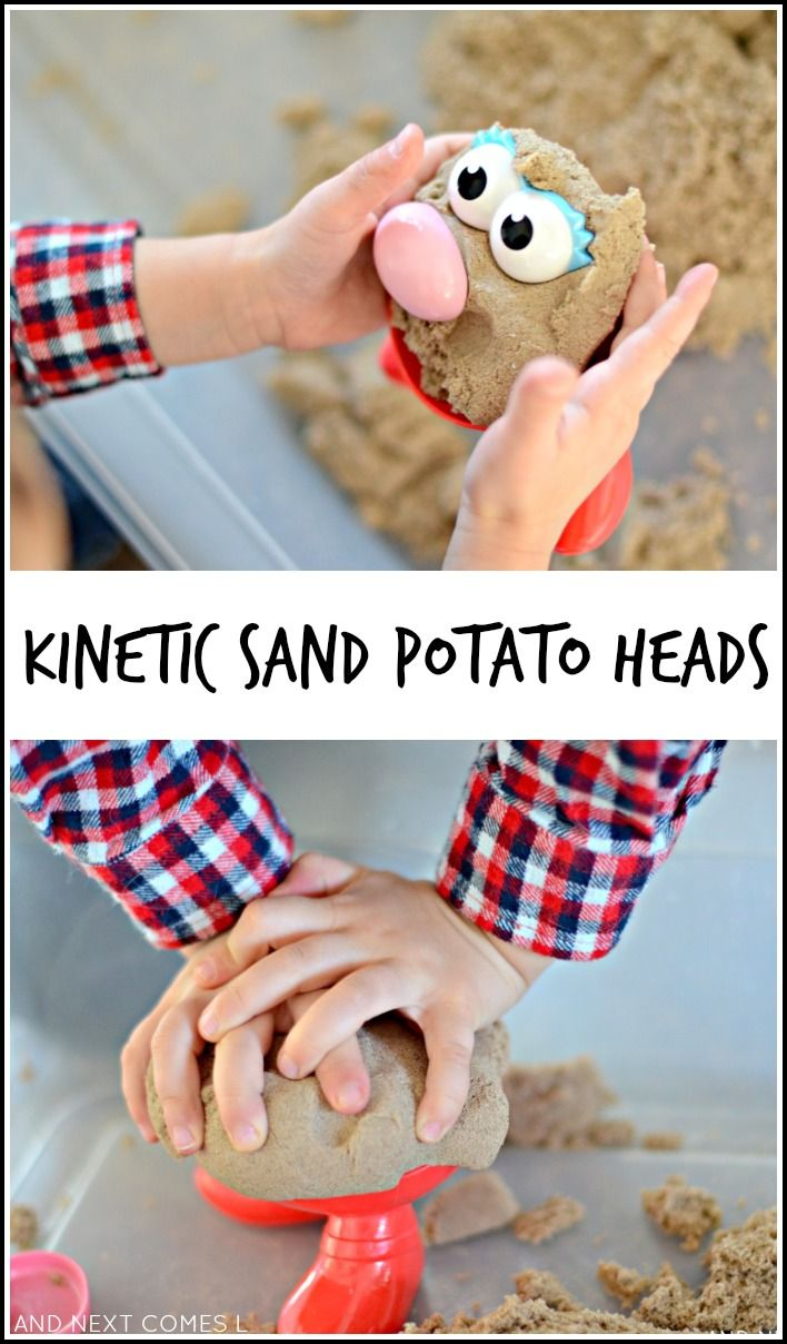 Fine motor sensory play with kinetic sand & potato head pieces from And Next Comes L