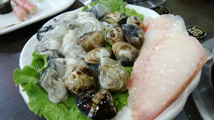 "The entree proteins for my ""Shapu-Shapu"", Oysters, Clams & White Fish. So Fresh!"