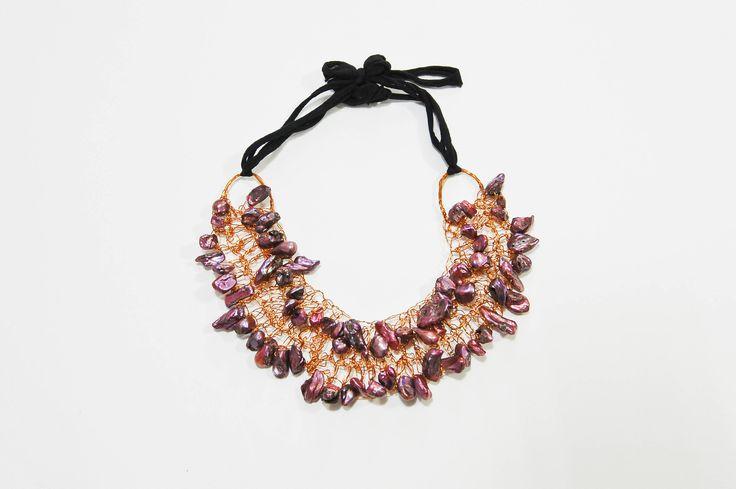 collana in rame e perle barocche handmade di sognidartebyadalgisa su Etsy