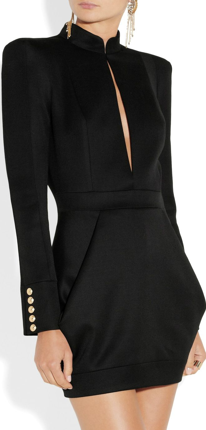 Balmain ● Wool-twill mini dress via Patricia Hernandez / RLD