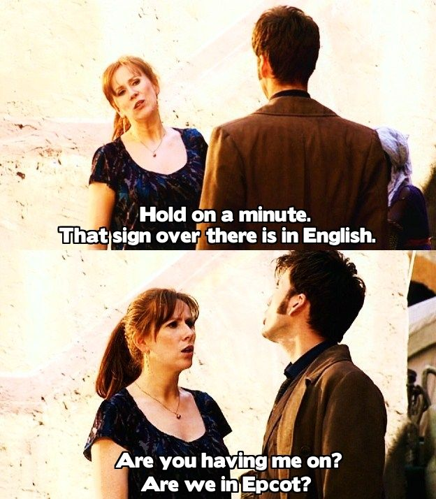 """Rose's response to TARDIS translation: """"It's in my mind!?! Your machine, it's in my head and you didn't think to tell me that?!""""  Donna's response:  """"Seriously?  *giggle* I just said seriously in Latin!"""""""