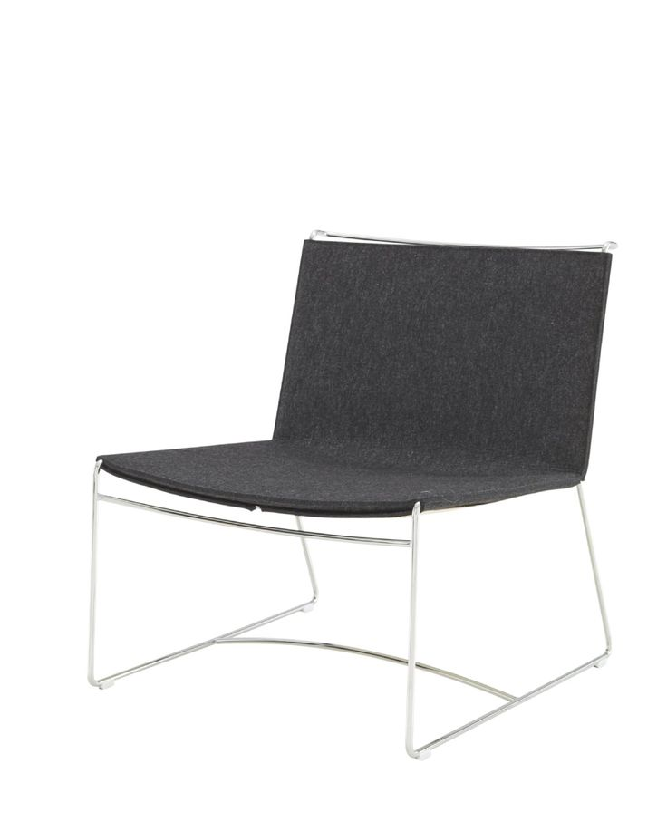 FIL Low occasional chair. Dims: W 64 x D 71 x H 73 cm  We have made this in hide for quite a while. Now in natural felt in grege, grey, tomato, mustard or anthracite.