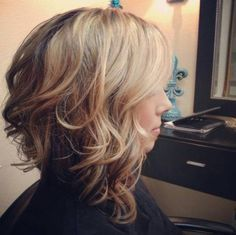 Stacked medium curly bob hairstyle for thick hair