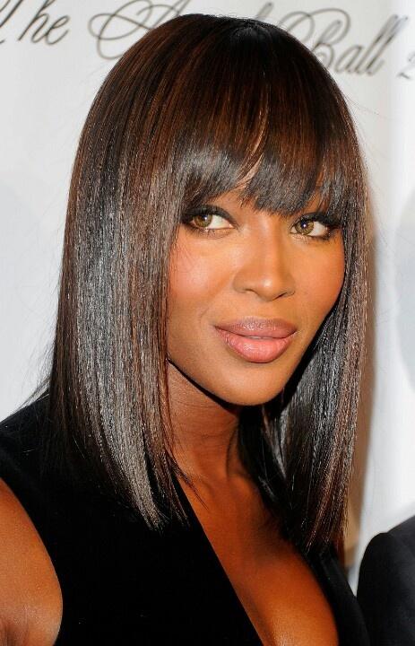 We love Naomi Campbell's long straight bob! She has so many memorable hairstyles. (nyyours.com)