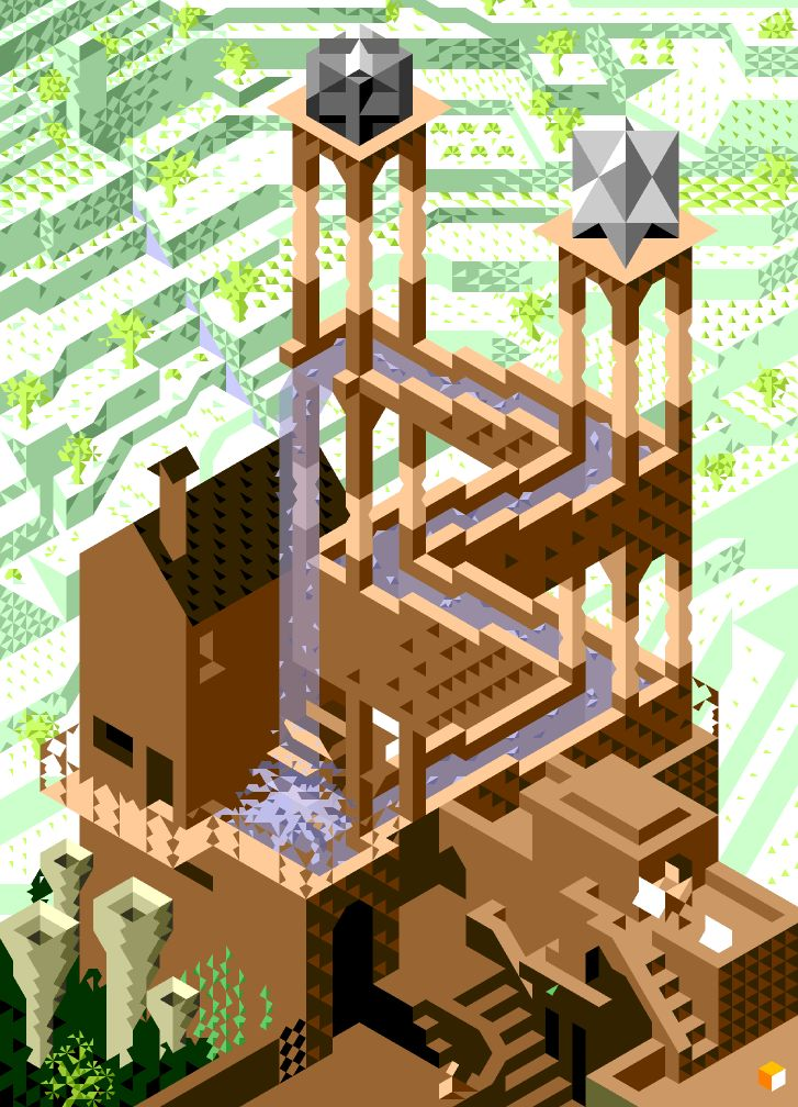 Isometric Pixellated Escher Waterfall by @hexydesign