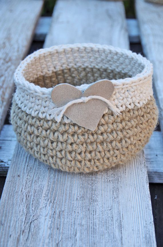 Crochet basket leather heart gift Basket  Cotton Natural Wedding Rustic  Crochet  Basket leather hert Alternative Gift Bags  Wedding