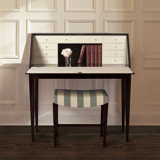 The Varenne Writing Desk is exquisitely detailed in Macassar Ebony wood with a bone ivory interior.  interior design, furniture, desk, secretary desk, small desk, traditional, transitional design, modern, contemporary, handmade furniture, custom furniture, office, study, library, high-end, luxury, Maxine Snider Inc.