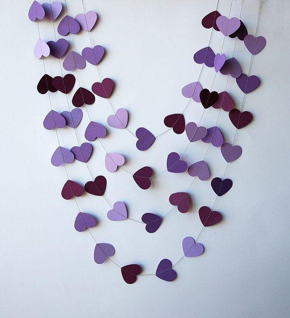 Guirnalda corazones, Decoració corazones morado violeta púrpura - Decoración San Valentín - Boda violeta, Guirnalda de papel