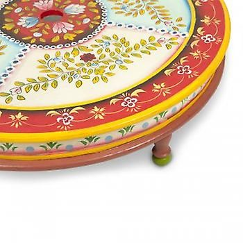 Boutique Camping Hand Painted Indian Bajot Round Table Red Aqua | Fruugo