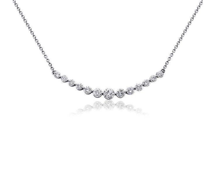0.75ctw Certified Real Diamonds Beautiful Curved Diamond Necklace 18k White Gold #TrueDiamondJewelry #Pendant