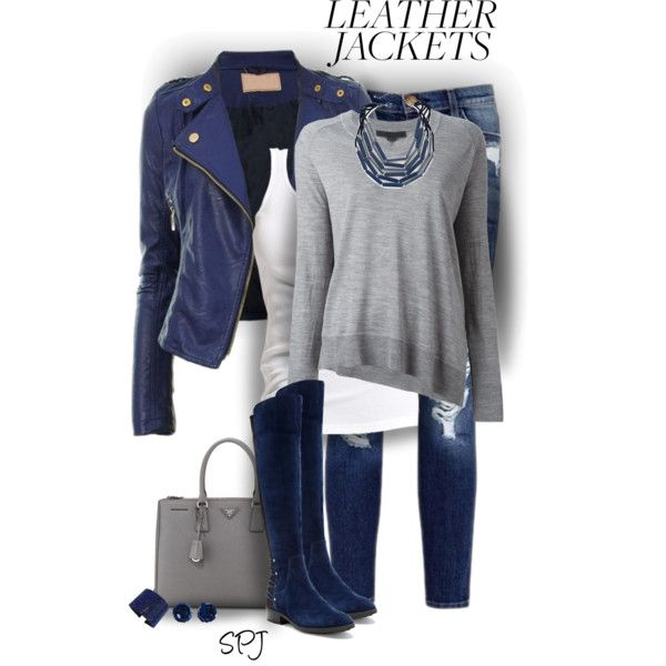 Leather Jacket Styling by s-p-j on Polyvore featuring Alexander Wang, Soaked in Luxury, Vince Camuto, Prada, Chico's, Swarovski, MANGO and Current/Elliott
