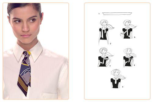 Ce nouage «Mini cravate» est réalisable avec un Twilly. Jouez avec votre carré Hermès avec l'application Silk Knots! #Hermes #Silk #SilkKnots