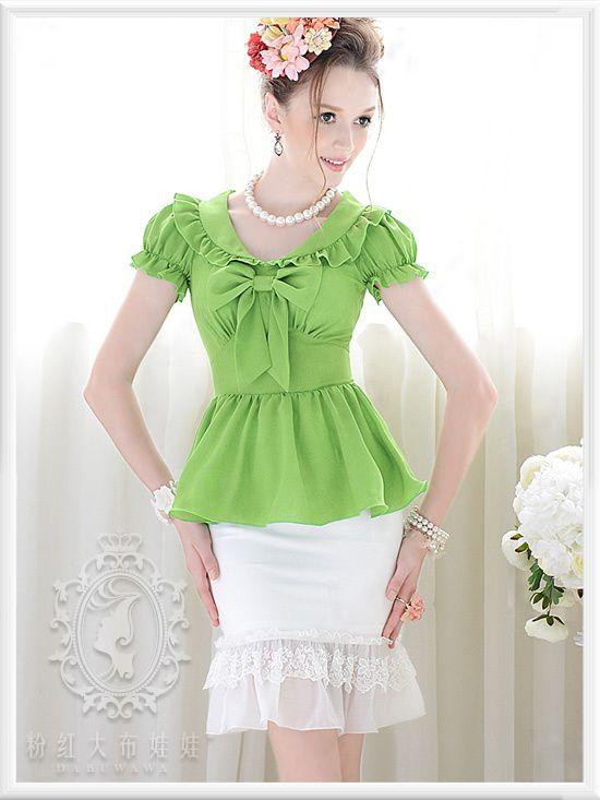 2016 verano verde ruffle arco delgado burbuja camisa de mangas cortas mujer blusas tamaño sml envío gratuito en Blusas y Camisas de Moda y Complementos Mujer en AliExpress.com | Alibaba Group
