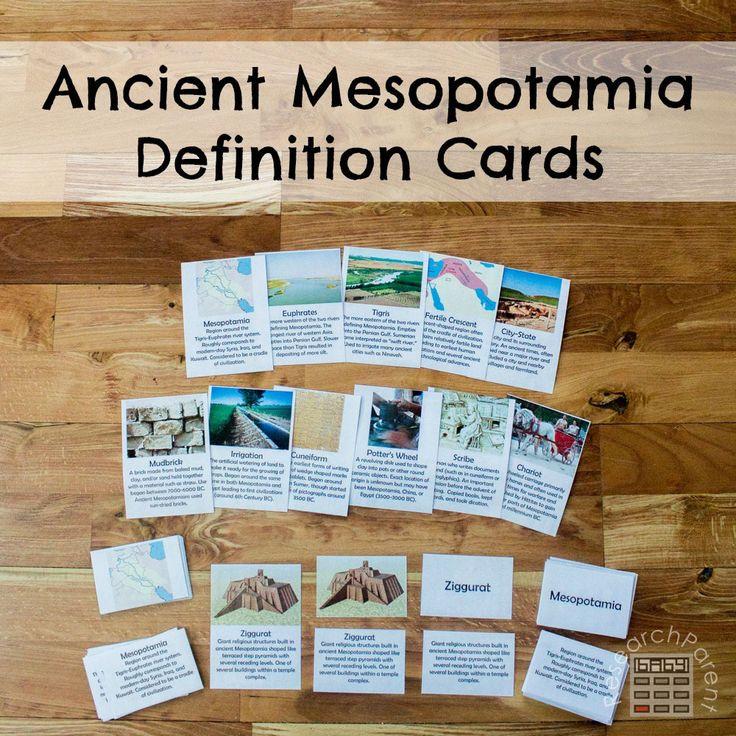 Ancient Mesopotamia Definition Cards - ResearchParent.com