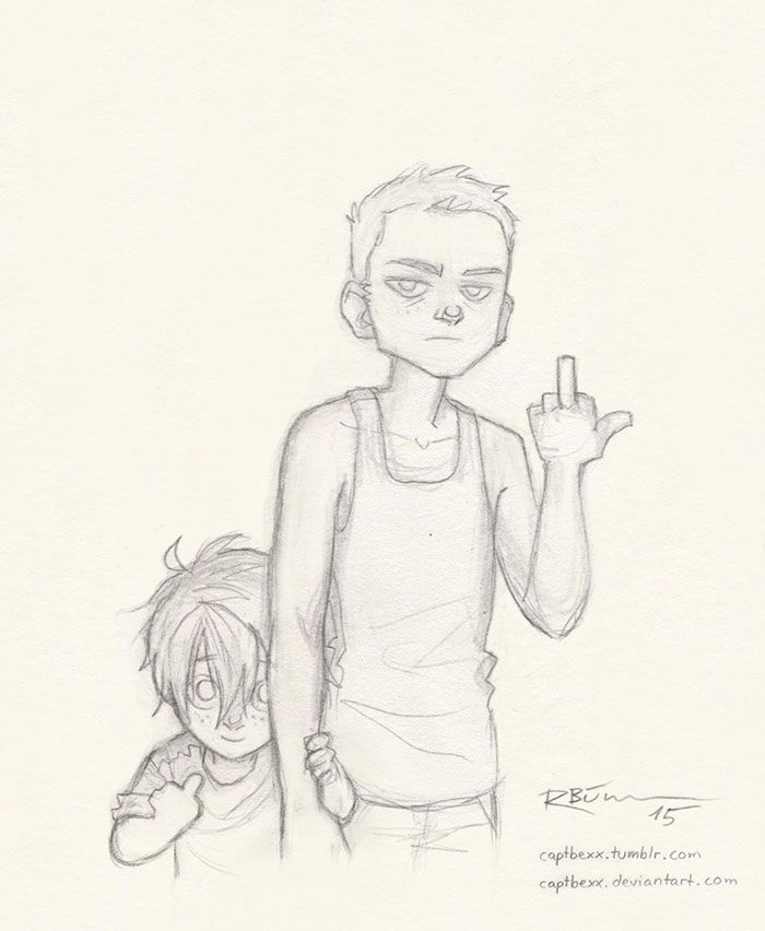 Young Daryl and Merle Dixon XD