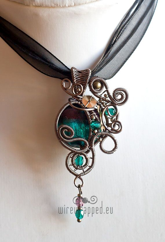 Teal purple steampunk pendant by *ukapala on deviantART