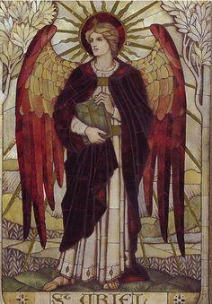 ¿Quién es y qué significa el arcángel Uriel?: Mosaico del arcáangel Uriel en la iglesia St. John, Boreham, Wiltshire. 1888, James Powell and Sons of the Whitefriars Foundry