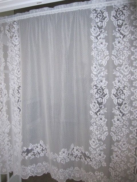 MOVING SALE...Lace Curtain, White Floral Lace Curtain ...