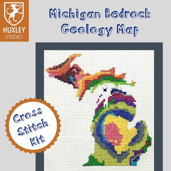 KIT Michigan Cross Stitch Kit DIY  Michigan State by HuxleyStudio