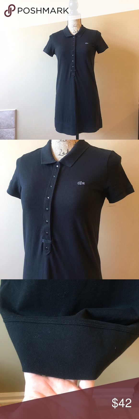 """Lacoste cotton stretch mini pique polo dress Excellent condition, no flaws. Measurements: 33"""" bust, 31"""" length, approximate. Description from website states: WOMEN'S STRETCH COTTON MINI PIQUÉ POLO DRESS EF8470-51 A flurry of refined accents for this stretch mini cotton piqué polo dress: a slim fit, a long button placket. Winning.  Polo collar, Slim fit Unicolor stretch mini cotton piqué Ribbed finishes Embroidered tone-on-tone crocodile appliqué on chest Lacoste Dresses Mini"""
