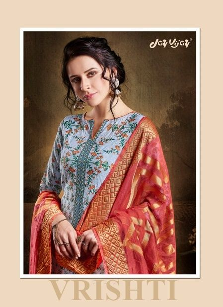 32375657a9 Vrishti by Jay Vijay Fancy Designer Printed Pure Cotton Slub with Embroidery  Work Dress Material Collection at Wholesale Rate
