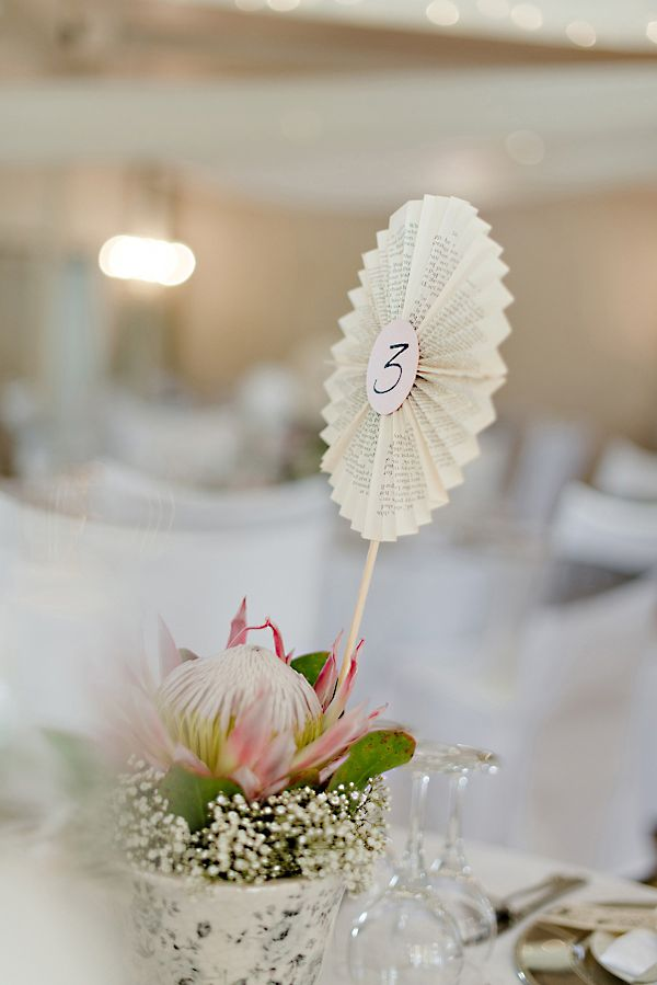 protea table numbers http://www.weddingchicks.com/2013/09/30/vintage-pink-and-white-wedding/