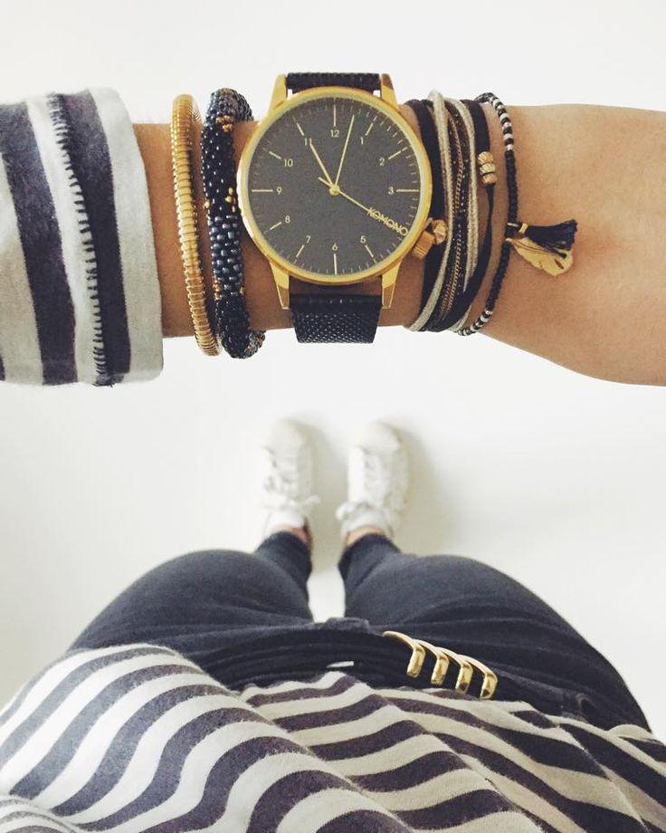 Black Komono Watch Multiple Bracelets Gold