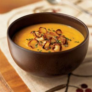 Carrot-Parsnip Soup with Parsnip Chips Recipe | MyRecipes.com