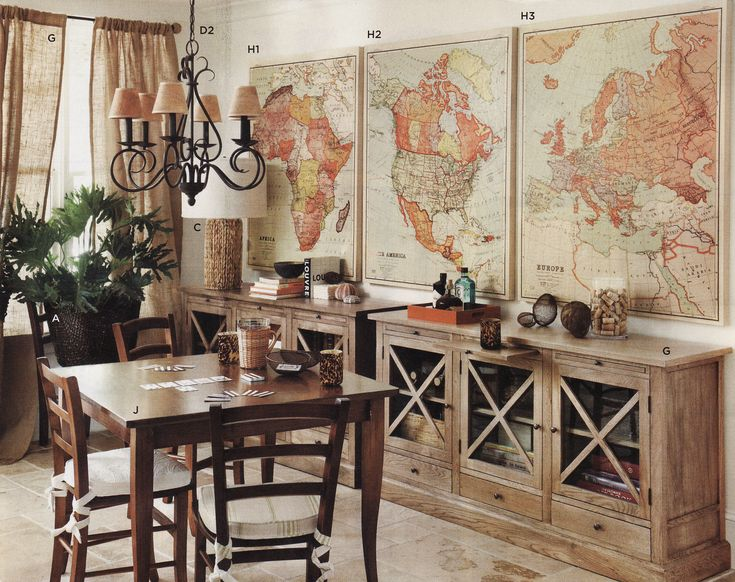 vintage map decor. This would be cool in a sophisticated man cave
