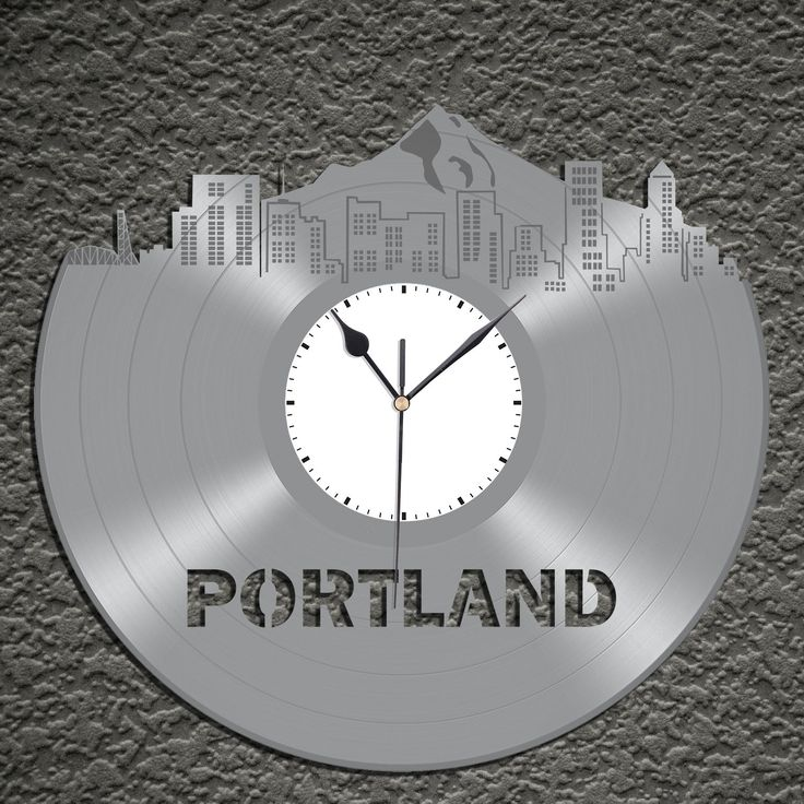 Vintage Wall Clock - Portland Skyline Clock, Vinyl Cityscape Clock, Wall Art Clock,  Modern Wall Clock,  Large Wall Clock, Travel Gift by VinylShopUS on Etsy