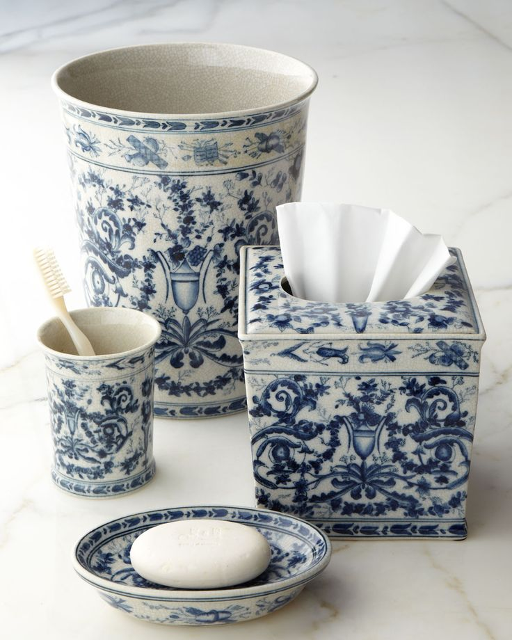 Blue & White Toile Porcelain Vanity Accessories - Horchow