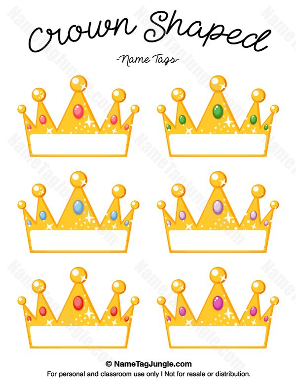 free printable crown shaped name tags the template can also be used for creating - Free Printables Kids