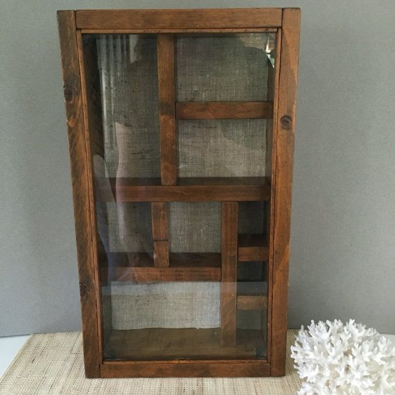 Vintage Curio Shadowbox With Glass Front Curio Cabinet