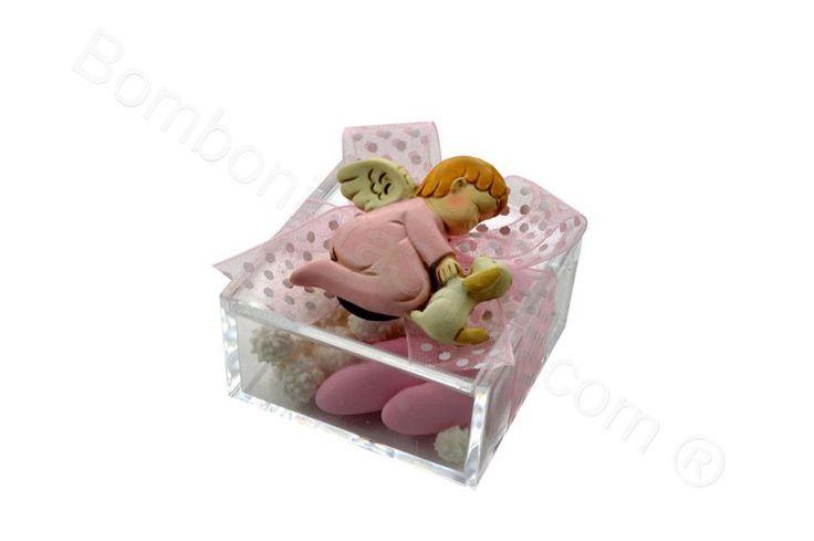 Scatola plexiglass con sopra angelo rosa   magnete con confetti inclusi (LS)