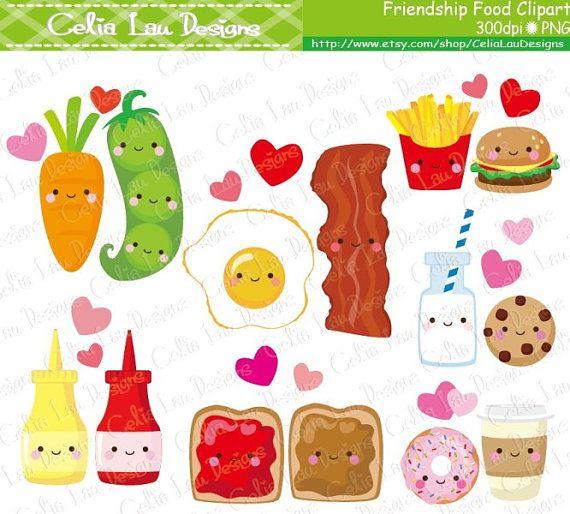 Friendship Food Cartoon, Best Friend Cute Clip Art / Cute Food Clipart (CG158)