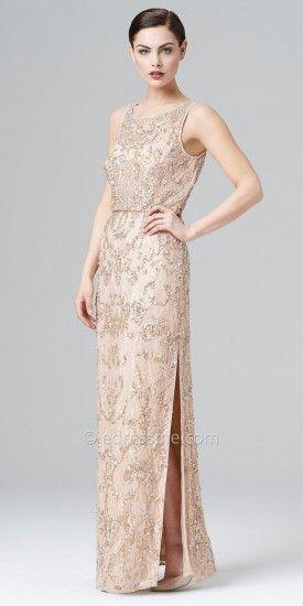 Beaded lace blouson dress Aidan Mattox