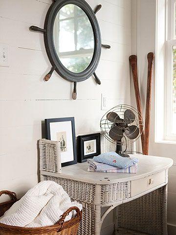 Great beach house bedroom decor.