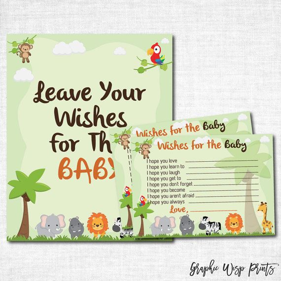Safari Baby Well Wishes Printable Cards, Jungle Safari Baby Shower Wishes  For The Baby, Safari Sign, Baby Shower Wishes Jungle, Jungle Theme
