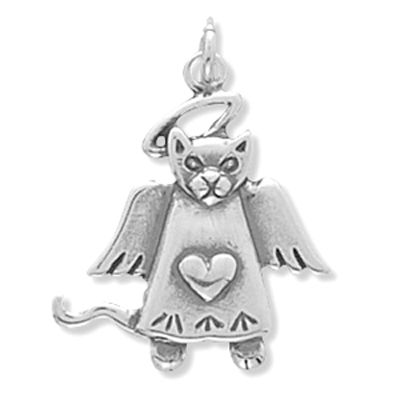 Sterling Silver Cat Angel Charm makes a good gift for a friend that lost their beloved cat! #catmemorial