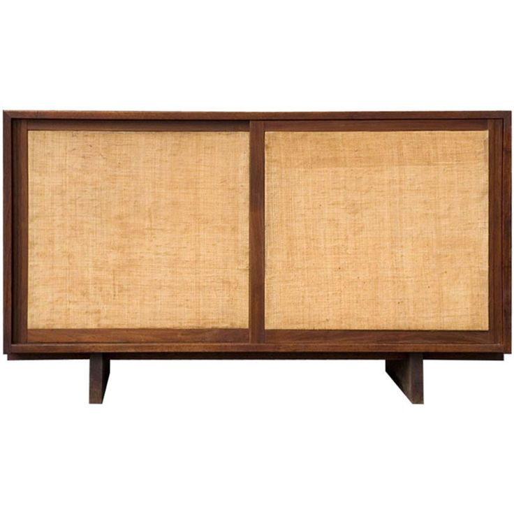 Delightful Grasscloth Console Cabinet By George Nakashima