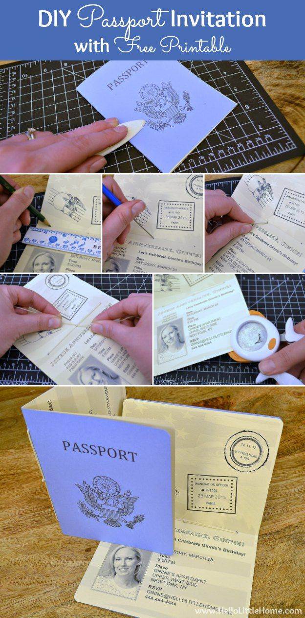 Make a DIY Passport Invitation using my free printable and easy step-by-step directions! Plus, click through for more French Themed Party Decoration ideas, too!   Hello Little Home
