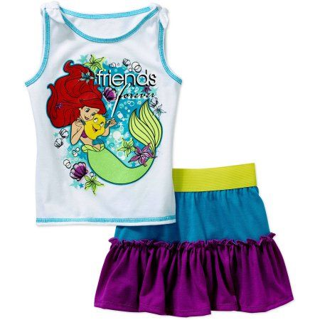 Little Mermaid Baby Toddler Girl Tank and Skirt Outfit Set, Blue