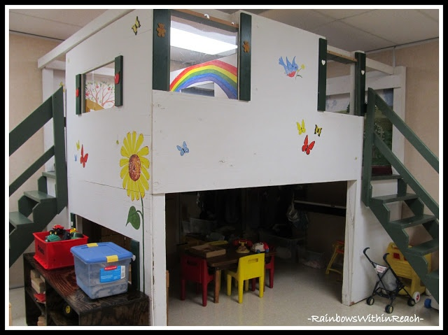 Library Loft in Preschool: Reading Corner RoundUP via RainbowsWithinReach