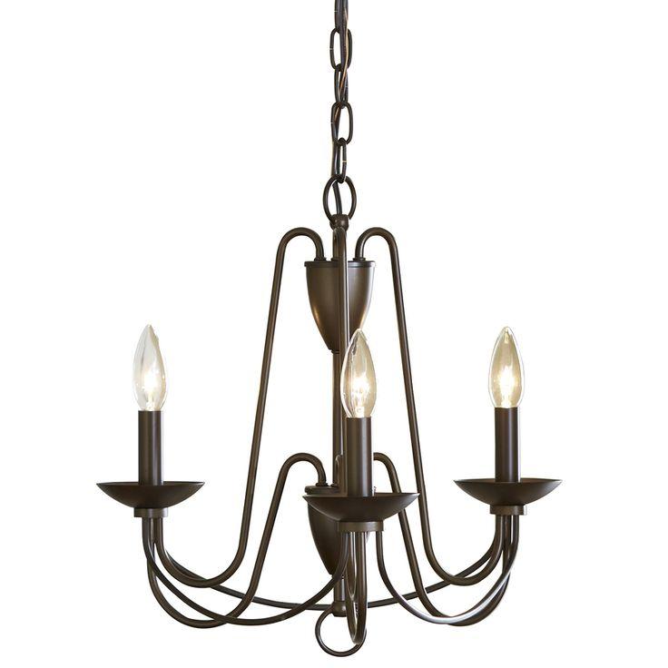 FOYER FIXTURE allen + roth Wintonburg 18-in 3-Light Aged Bronze Williamsburg Candle Chandelier $69.97