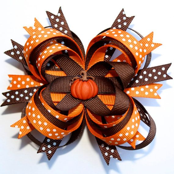 Pumpkin Brown Orange Polka Dots Fall Autumn Stacked Hair Bow