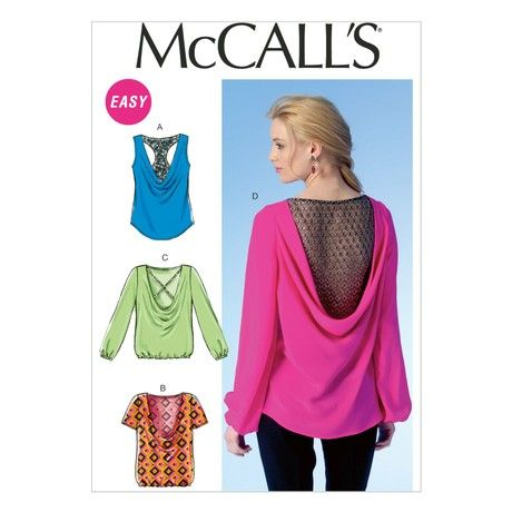 Mccall's Patterns MC7051A5 6/8/10/12/14 Misses Tops