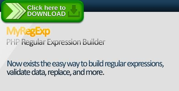 [ThemeForest]Free nulled download MyRegExp - PHP Regular Expression Builder from http://zippyfile.download/f.php?id=49641 Tags: ecommerce, class, coincidence, easy, expression, helper, match, php5, preg, regex, regexp, regular, replace, validate, validation